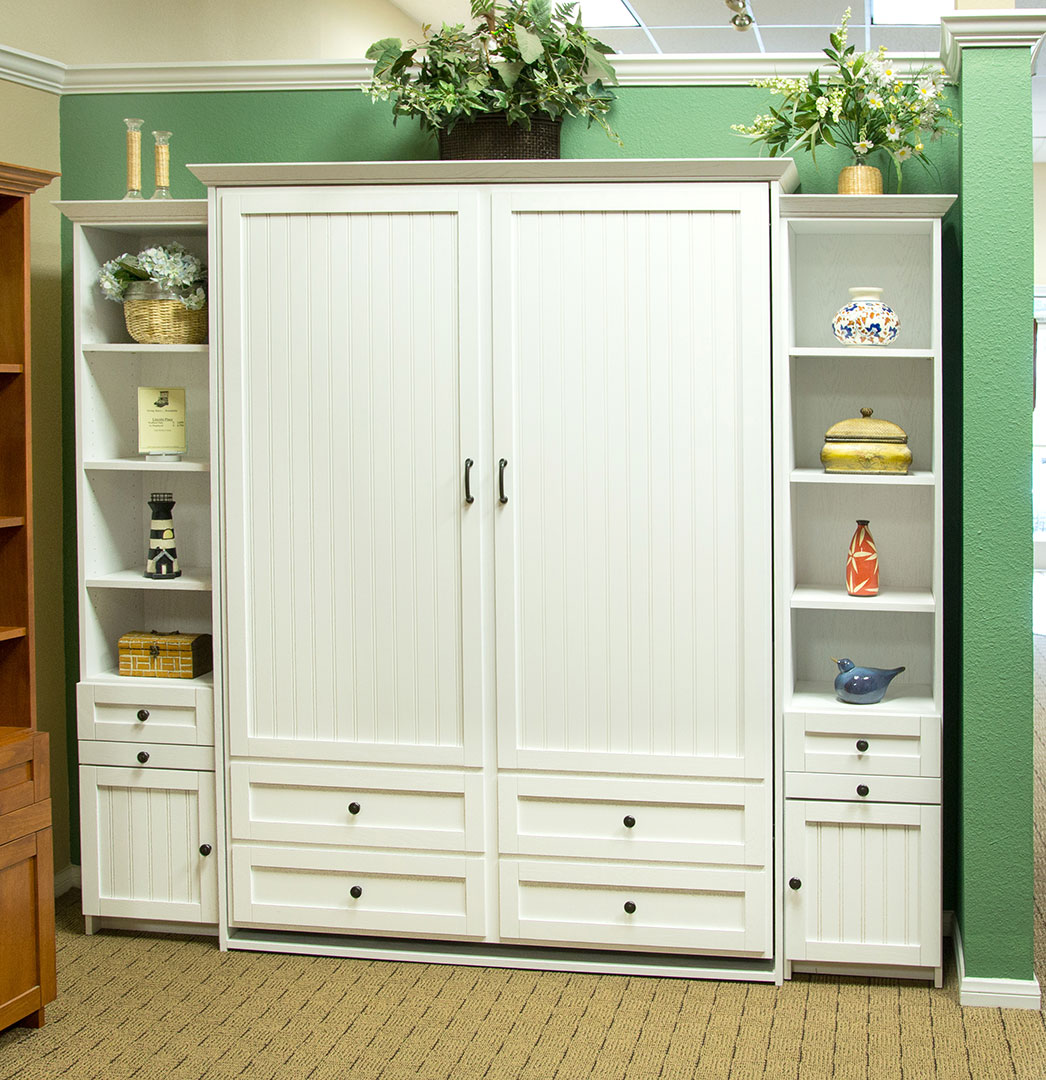 Queen size Lincoln Place Murphy Bed in Oak wood with White finish