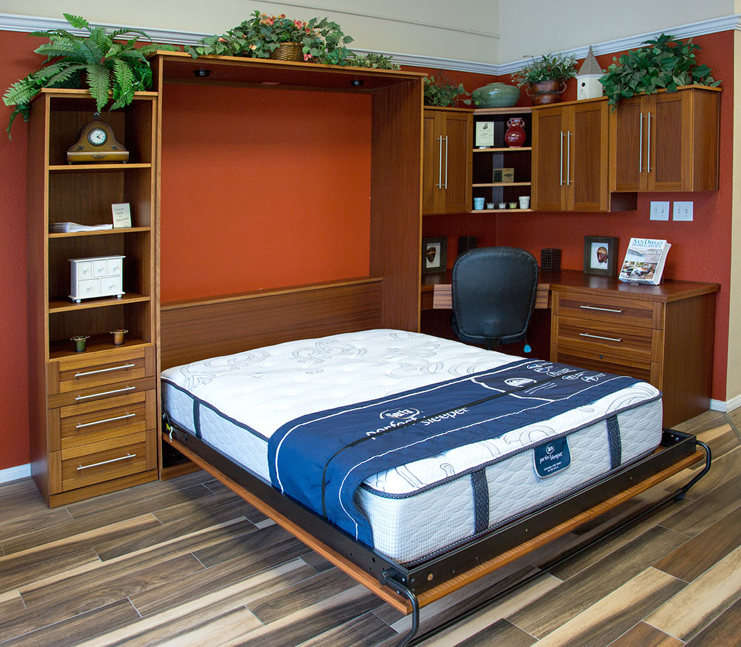 Queen size Manhattan style Murphy Bed in Mahogany wood with Mustang finish