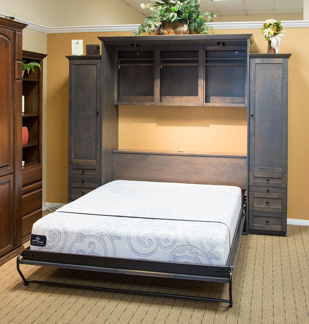 Queen size Mission Murphy Bed in Alder wood with Driftwood finish