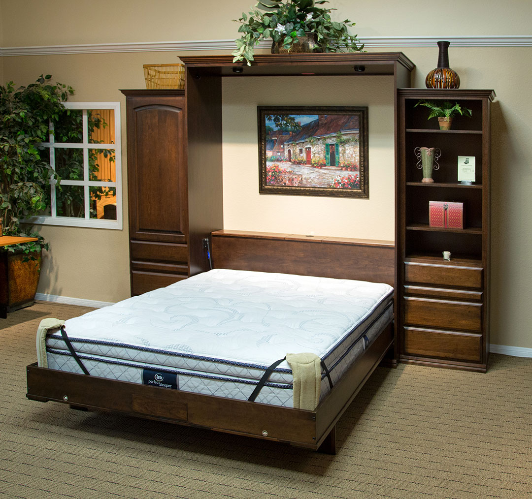 Queen size Presidential II Wallbed in Cherry wood with Mocha Nut finish