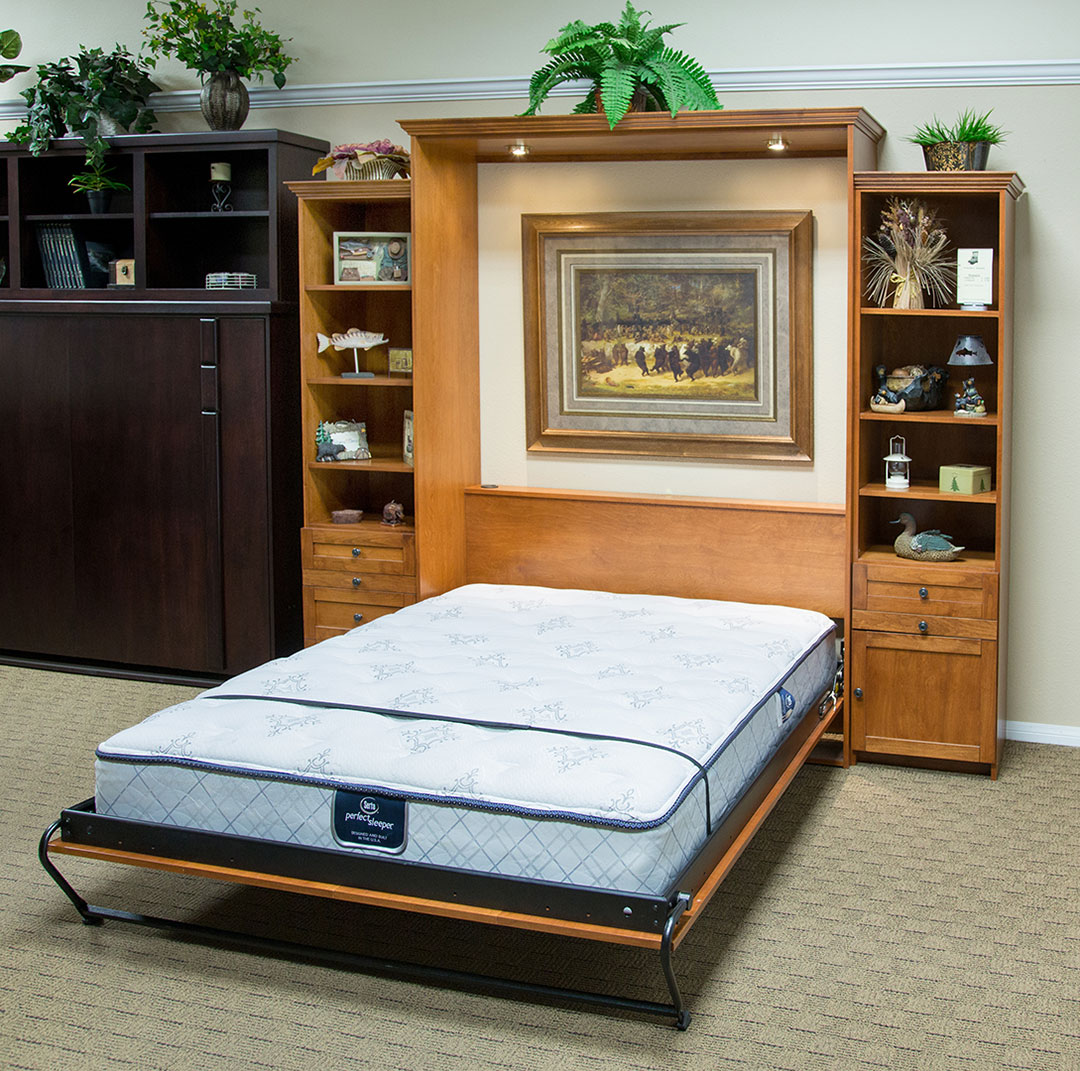 Queen size Remington Murphy Bed in Alder wood with Autumn Haze finish