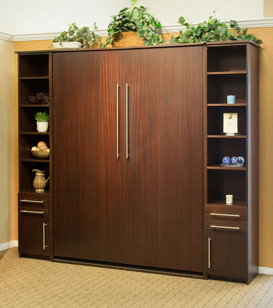 Queen size Scape style Murphy Bed in Mahogany wood with Mocha Nut finish