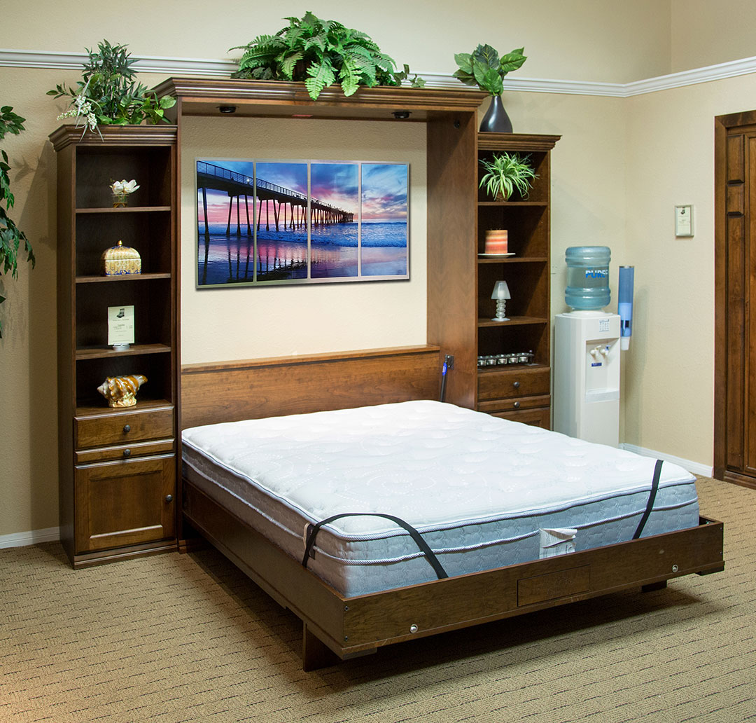 Queen size Venetian Murphy Bed in Cherry wood with Grand Harbor finish