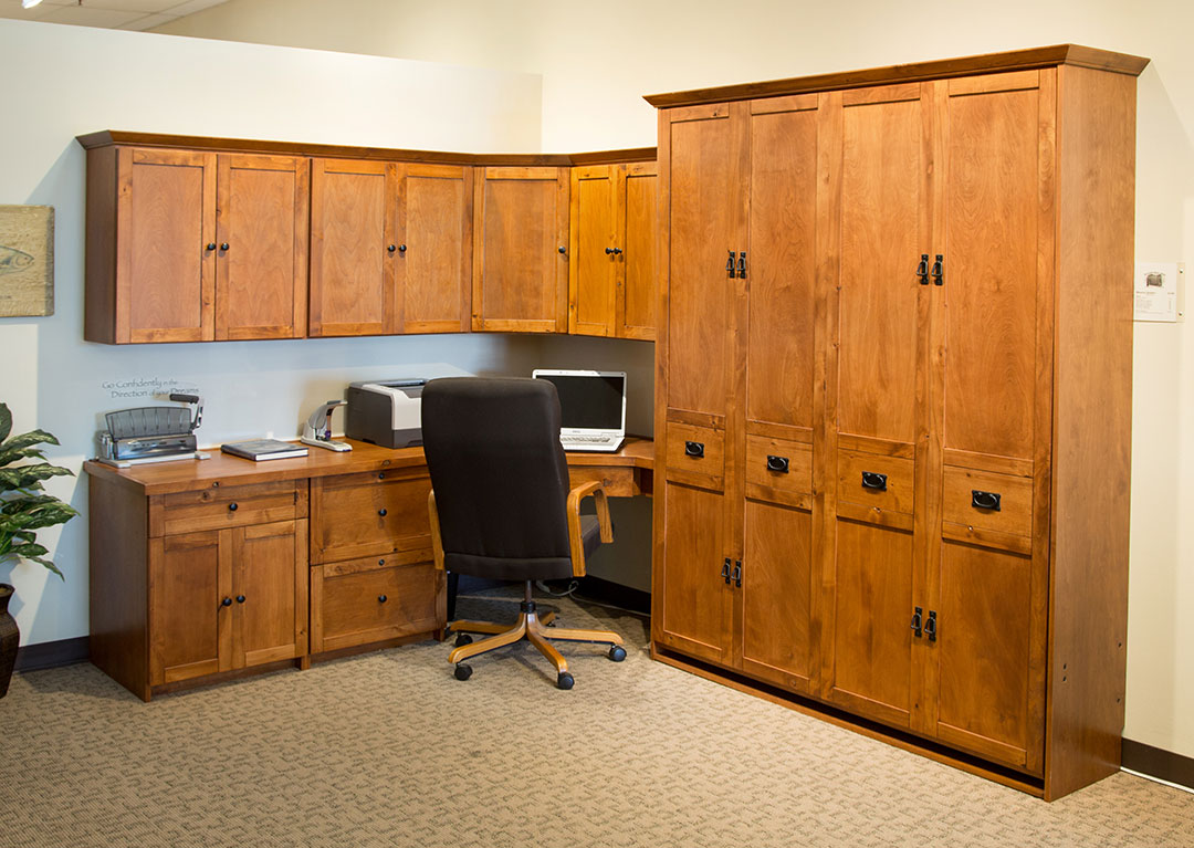 Mission Murphy Bed Office in Knotty Alder wood with Burnt Sugar finish