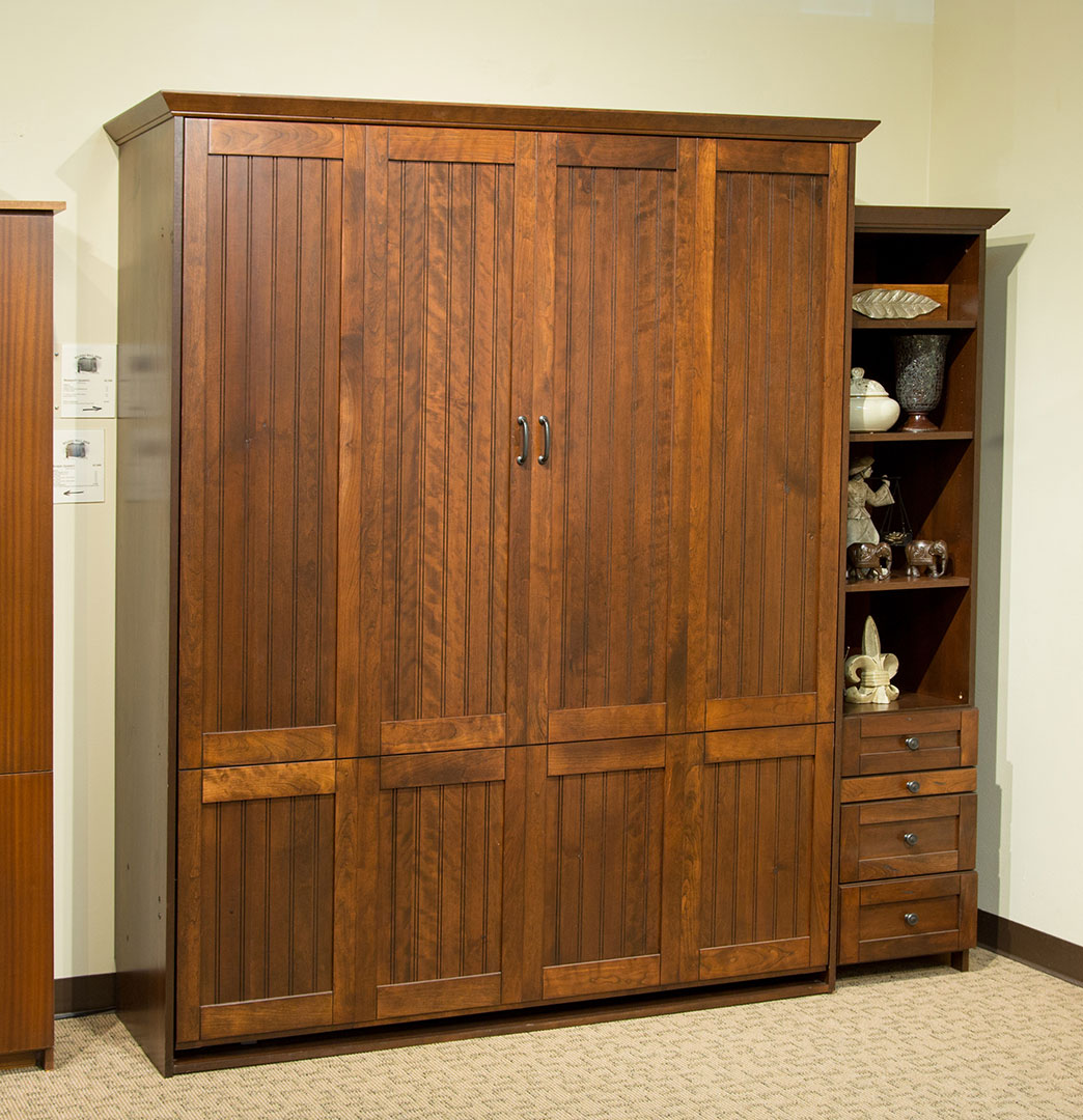Newport Murphy Bed in Cherry wood with Burnt Sugar finish