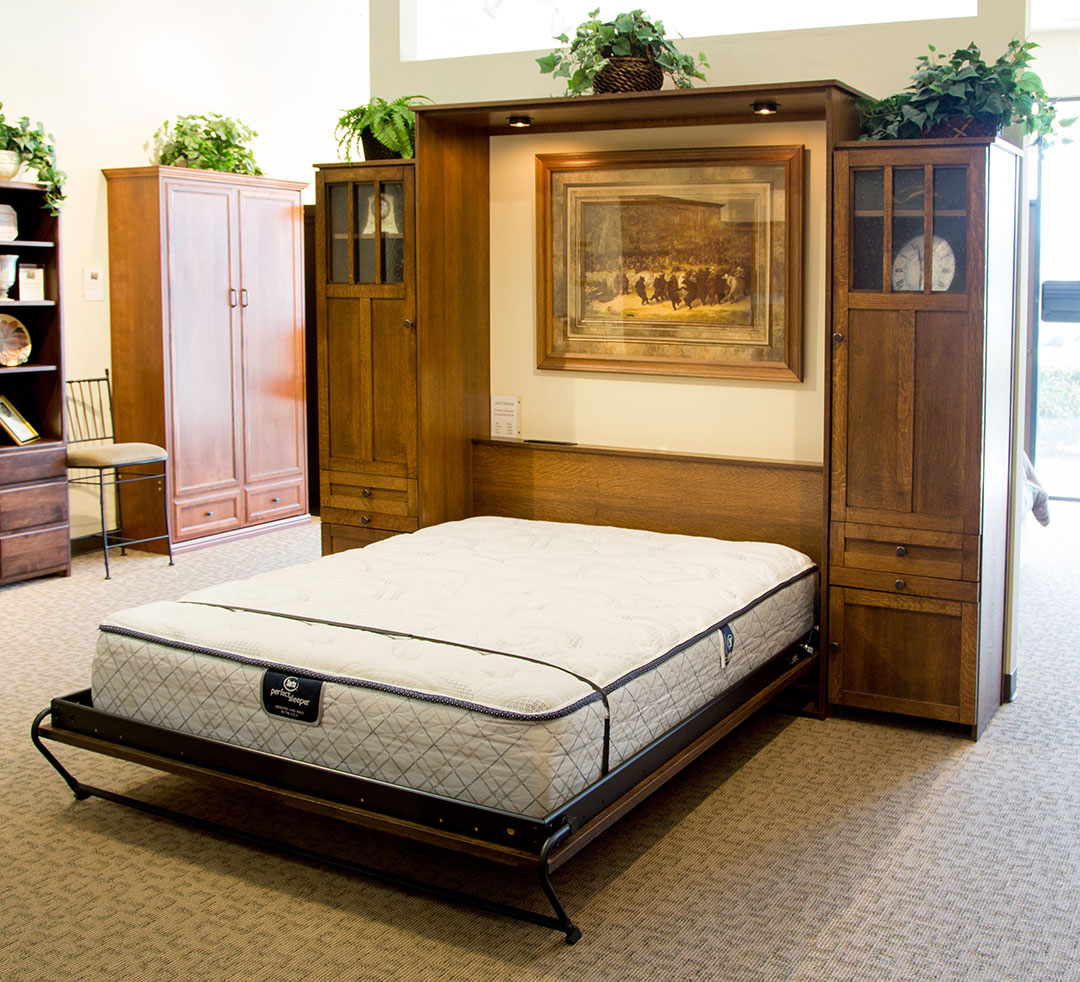 Park City Murphy Bed in Quarter Sawn Oak wood with Black finish