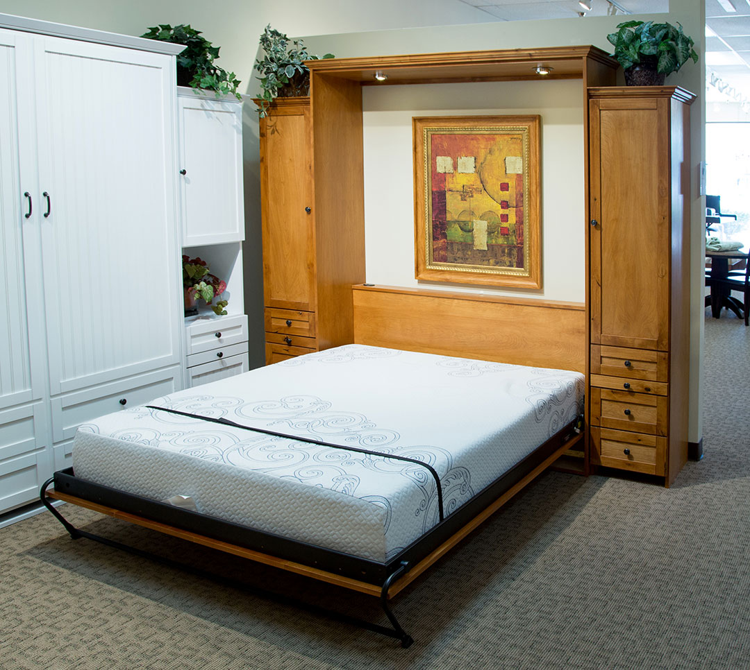 Remington Murphy Bed in Knotty Alder wood with Aurora Splendor finish