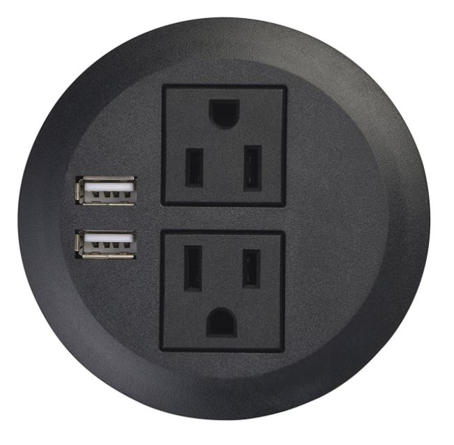 Recess Mounted 2 Plug outlet with 2 USB
