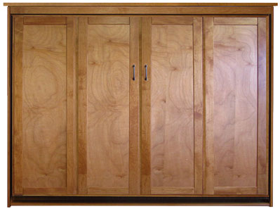 Queen Size Remington Sidemount Murphy Bed in Alder wood with Natural Finish