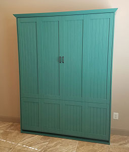 Queen Size Newport Murphy Bed in Paint Grade Wood in Greenbay finish