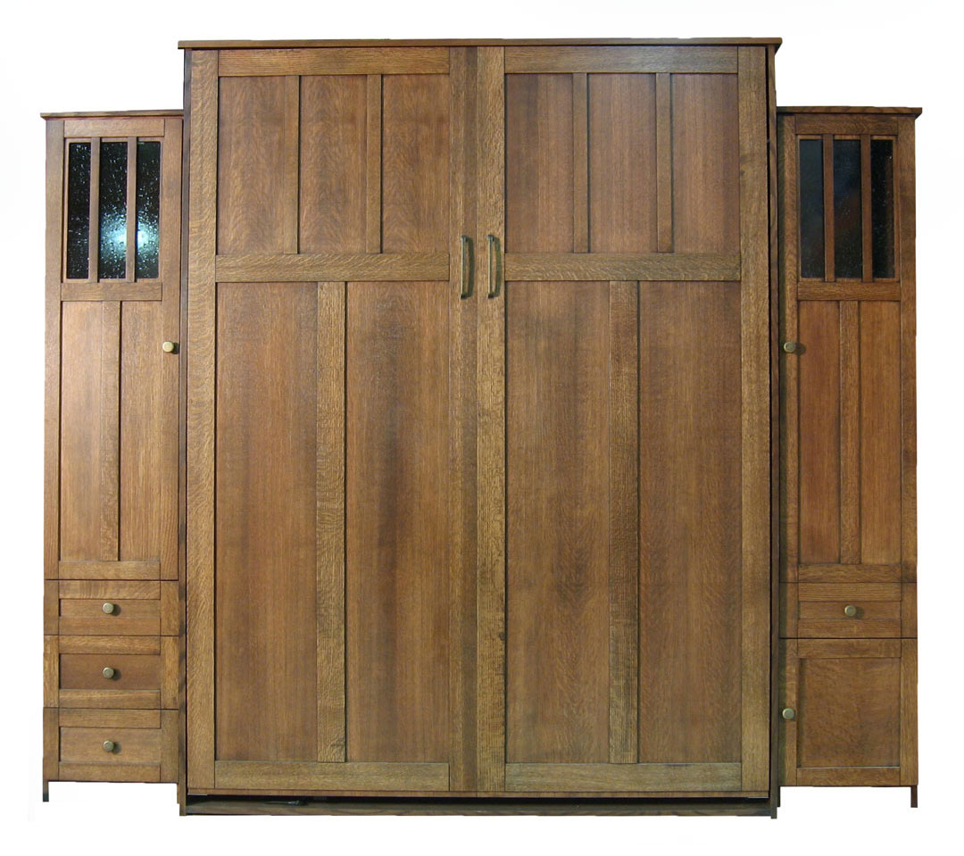 Queen size Park City Murphy Bed in Quarter Sawn Oak Wood and Mission finish