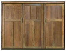 Queen Size Park City Murphy Bed in Quarter-Sawn Oak in Mission Finish with Black Glaze